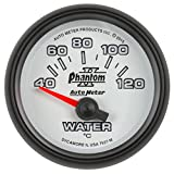 AutoMeter 7537-M Phantom II Electric Water Temperature Gauge 2-1/16 in. White Dial Face Fluorescent Red Pointer White LED Lighting Electric Air-Core 40-120 Degree C Phantom II Electric Water Temperature Gauge