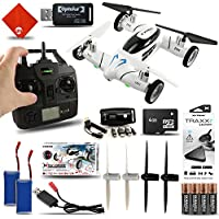Fly & Drive 6-Axis 2.4 Ghz Air & Land Remote Control Quadcopter Drone Kit with Extra Batteries & Portable Power Charger White