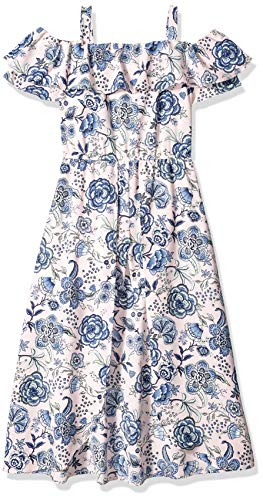 Amy Byer Girls' Big Off The Shoulder Walk-Through Romper, Rose Paisley floral garden M