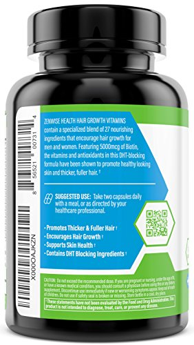 Hair Growth Vitamins Supplement - 5000 mcg Biotin & DHT Blocker Hair Loss Treatment for Men & Women - 1 Month Supply With Vitamin A & E to Stimulate Faster Regrowth + Care for Damaged Hair - 60 Pills by Zenwise Health (Image #2)