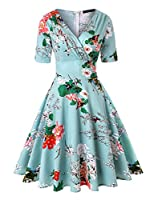 ROOSEY Women's Vintage Retro V Neck 1950s Cocktail Party Wedding Formal Swing Dress with Belt
