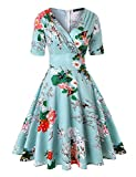 ROOSEY Women's Vintage 1950s Deep V Neck Cocktail Party Swing Dresses