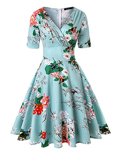 (ROOSEY Womens Casual Retro Deep-V Neck Half Sleeve Vintage Cocktail Swing Dress)
