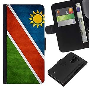 BearCase / Cuero de la tarjeta la carpeta del tirón Smartphone Slots Protección Holder /// LG G3 /// Nacional bandera de la nación País Namibia