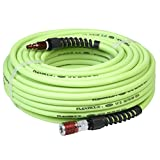 Flexzilla Pro Air Hose with ColorConnex Industrial Type D Coupler and Plug, 1/4 in. x 100 ft, Heavy Duty, Lightweight, Hybrid, ZillaGreen - HFZP14100YW2-D