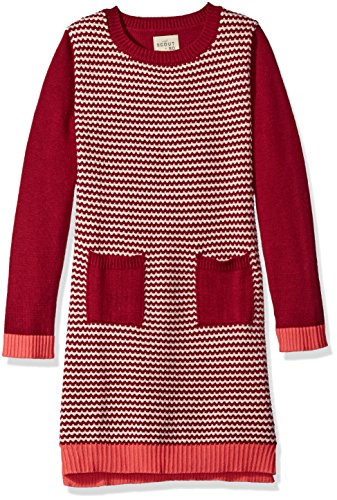 Scout + Ro Big Girls' Sweater Dress with Patch Pocket, Red Berry, 7 by Scout + Ro