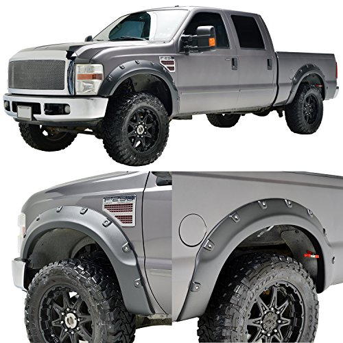 EAG 08-10 Ford Super Duty F250/F350 Fender Flares for (18291) 4PCS Textured Black Pocket Rivet Style ABS