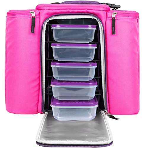 Innovator Insulated Meal Management Bag, Pink, 500 (5 Meals) by 6 Pack Fitness (Image #3)