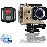 FrenzyDeals Gold Ultra HD Wifi Waterproof Sports Camera with Wrist RF remote + FrenzyDeals Microfiber Cloth