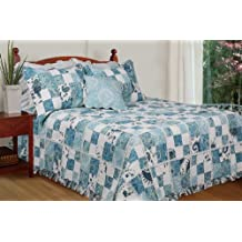 [Calypso] 100% Cotton 3PC Floral Vermicelli-Quilted Patchwork Quilt Set (King Size)