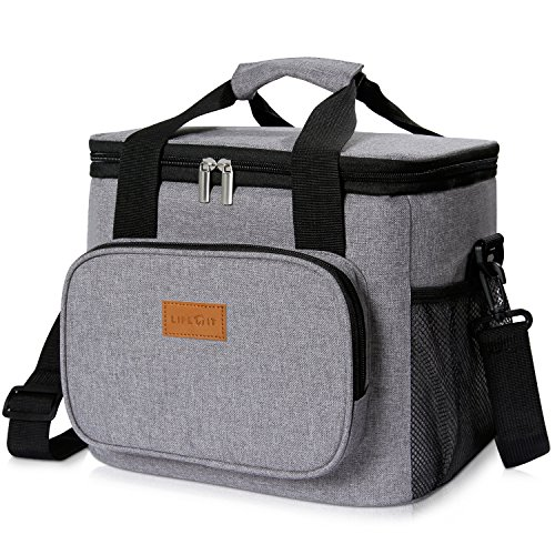 Leak Proof Peva Lining - Lifewit Insulated Lunch Bag Box 15L ( 24-Can ) Soft Cooler Bag, Thermal Lunch Cooling Bag for Work Beach Picnic Camping, Grey