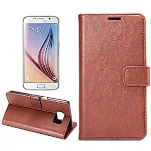 Galaxy S6 Case,Galaxy S6 Case,Creativecase Galaxy S6 Flip Case,Samsung Galaxy S6 Case,Fashion Galaxy S6 Leather Case With Credit ID Card wallet design Galaxy S6 Case Cover for Samsung Galaxy S6-Brown