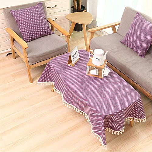 wrgfhb Polka dot Lattice Decorative Tablecloth Table Cover Party Wedding Home Kitchen Rectangular Tablecloth Purple 140x200cm