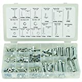 GHP 240-Pcs Assorted SAE Standard Size Nut & Bolt Screw Hardware Kit with Storage Case