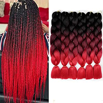 Amazon Com 6 Packs Ombre Braiding Synthetic Hair Kanekalon Fiber Jumbo Braids Hair Extensions Black To Bug To Red Beauty
