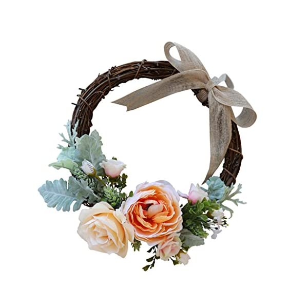 Fityle Artificial Rose Flower Wreath Garland Spring Summer Home Wall Front Door Decor – Champagne