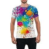 Goodstoworld Unisex 80s Splatter Paint 3D Printed Hip Hop Short Sleeve Crewneck T Shirt Tees Clothes for Women Men