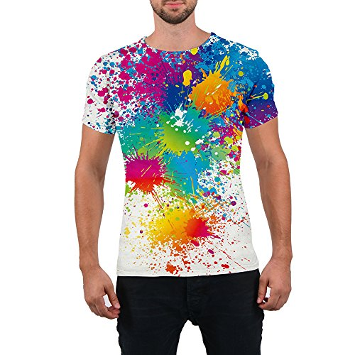 Goodstoworld Unisex 80s Splatter Paint 3D Printed Hip Hop Short Sleeve Crewneck T Shirt Tees Clothes for Women Men -