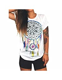 Women Summer White T-Shirt Dream Catcher Printed Short Sleeve Tops Blouse