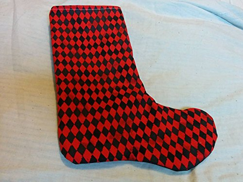 Pubcrawl black & Red geometric christmas stocking - Harley Quinn inspired -
