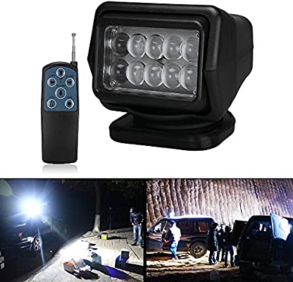 Led Searchlight Work Light With Magnetic Base Cree Chip Radio Remote Control Weatherproof 360 Degree Rotatable For Offroad Hunting Boat Garden 50 W Dc 12 V Amazon Co Uk Car Motorbike