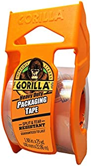 "Gorilla Heavy Duty Packing Tape with Dispenser for Moving, Shipping and Storage, 1.88"" x 25 yd, Clear, (P"