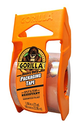 "Gorilla Heavy Duty Packing Tape with Dispenser for Moving, Shipping and Storage, 1.88"" x 25 yd, Clear, (Pack of 1)"