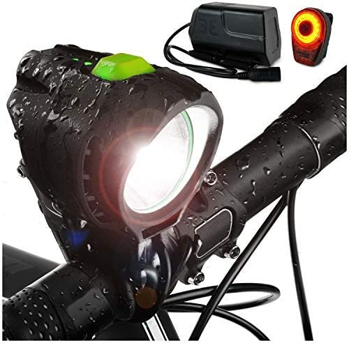 Bright Eyes 1800 Lumen Bicycle Light Set – The Stamina – Super Bright Headlight w Quad Cree Technology and Light Weight Military Grade Nylon Shell-Free USB Rechargeable Taillight for a Limited Time