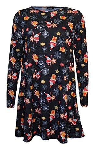 BuyAll Femmes Filles Femmes Noël Père Novelty Balançoire Flared à manches longues ras du cou Parti Robe Taille Plus Top Shirt XL XXL XXXL 36 38 40 42 44 46 48 50 52 54