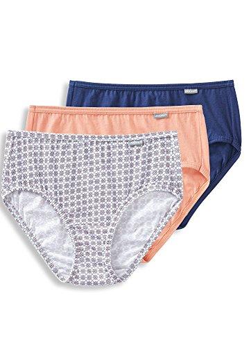 Jockey Women's Underwear Elance Hipster - 3 Pack, Coral Reef/Geo Petals/Egyptian Blue, (Blue Hipster Underwear)