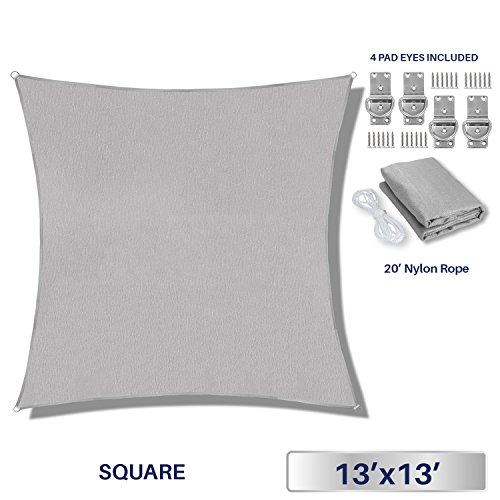 Windscreen4less 13' x 13' Sun Shade Sail UV Block Fabric Canopy in Light Grey Square Patio Garden Customized Free Pad Eyes 3 Year Limited Warranty by Windscreen4less