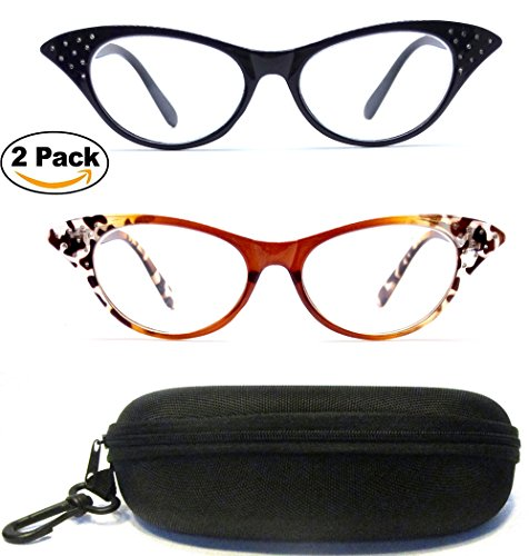 (#CAT001) 2 Pairs - Cat Eyes Cateyes Rhinestone Retro Classic Reading Glasses For Women Optic Frame & FREE HARD CASE ( Strength : +2.00 - Eye Glasses Rhinestone Cat Reading