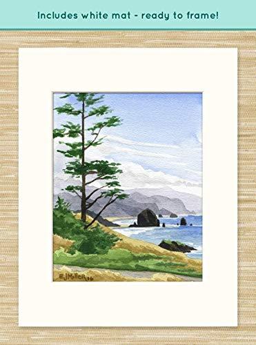 Miller Fine Art Print - Haystack Rock Cannon Beach art print, Oregon watercolor painting, Oregon coast artwork, coastal ocean decor, Oregon beach wall art, Ecola State Park painting