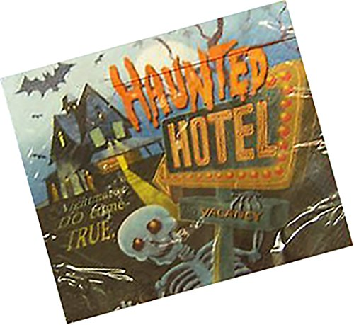"""Custom Made & Disposable {6.5"""" Inch} 16 Count of 2 Ply Mid-Size Size Square Food & Beverage Napkins, Made of Soft Absorbent Paper w/ Colorful Halloween Hotel Party Style {Orange, Black, & White}"""