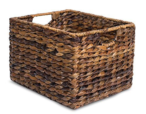 """BIRDROCK HOME Woven Storage Shelf Organizer Baskets with Handles - Set of 3 - Abaca Wicker Basket - Pantry Living Room Office Bathroom Shelves Organization - Under Shelf Basket - Handwoven (Espresso) - BEAUTIFUL ORGANIZATION: organize your home without missing out on a beautiful, decorative design. Keep your home shelves organized by using the baskets to stow away magazines, toys, books, dog toys, papers, files, electronics and other household items within the uniquely designed seagrass bins. Baskets are carefully handwoven giving each one a unique touch SPACIOUS INTERIOR: large interior measuring 8.25"""" H x 11.75"""" L x 10"""" W, gives you plenty of space to store a variety of household items. FITS MOST SHELVES: designed to fit most décor shelves, book shelves, pantry shelves, kitchen shelves, bathroom shelves, etc. (Measure shelves before purchasing to avoid returning) - living-room-decor, living-room, baskets-storage - 51VOE0Au4oL -"""