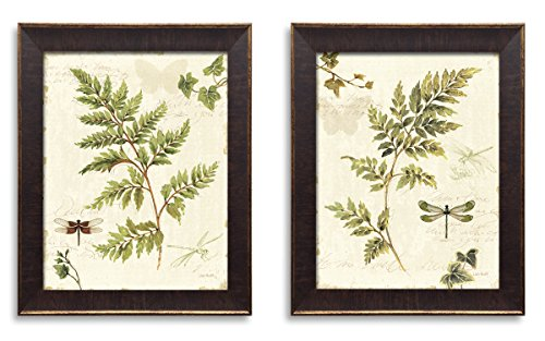 Classic Green and Brown Botanical Leaf and Dragonfly Set by Lisa Audit; Two 11x14in Gold Trim Brown Framed Prints; Ready to hang!