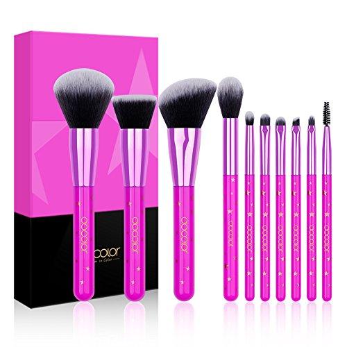 Docolor Makeup Brushes,10 Pieces Lavender Star Makeup Brush Set Professional Face Powder Foundation Blending Contour Eye Shadow Eyebrow Make Up Brushes Kit