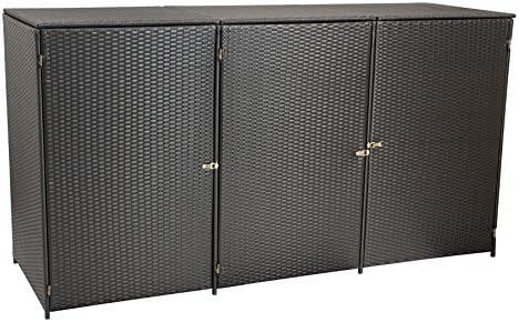 gartenmoebel-einkauf Mülltonnenbox für 3X Tonnen Gross bis 240 Liter, 220x78x123cm, Stahl + Polyrattan Geflecht Mocca