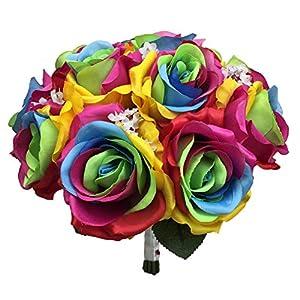 Lily Garden Silk Rainbow Rose Flowers Bouquet Boutuniere (Wedding Bouquet A) 65