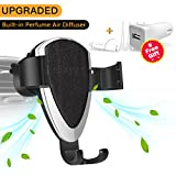 Car Phone Mount, Universal Gravity Vent Clip Cradle Holder, Car Fragrance Diffuser, Car Charger Adapter for iPhone X/8/8 Plus/7/7 Plus/6/6S, Samsung Galaxy S8/S7/S6, Nexus, HUAWEI and Others-Black