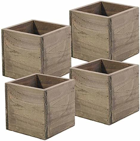 Wood Planter Box, 5 Inch Square, Rustic Barn Wood, Plastic Liner, Garden Centerpiece Display, Wedding Flowers Holder, Home and Venue Decor, Set of 4