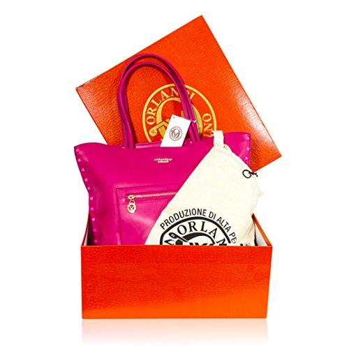 clouté cuir Valentino à en Orlandi sac à sac bandoulière rose Designer italien main FFpqxYa