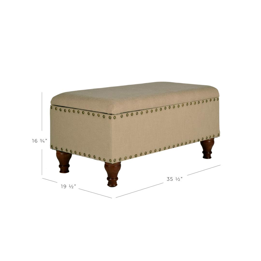 Kinfine Linen Storage Bench with Nailhead Trim and Hinged Lid Blue