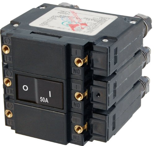 Blue Sea Systems C-Series Flat Rocker Triple Pole 50A AC Circuit Breaker
