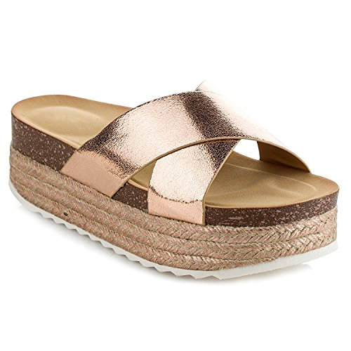 latform Slide Sandals Fashion Criss Cross Slip On Flat Summer Beach Casual Shoes GG10 Rose Gold 8 (Espadrille Slides Sandals Shoes)