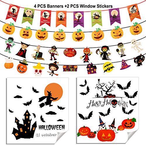 4 Pcs Halloween Banners and 2Pcs Halloween Window Stickers - Halloween Props Haunted House Decor Trick or Treat Stickers Pumpkins Spooky Witch and Bats for Halloween Decorations