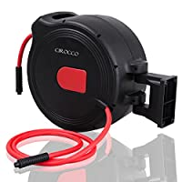 """Cirocco 3/8"""" X 100 Feet Retractable Air Hose Reel 1/4"""" Inlet – Bench Wall Mount Automatic Rewind Hose 