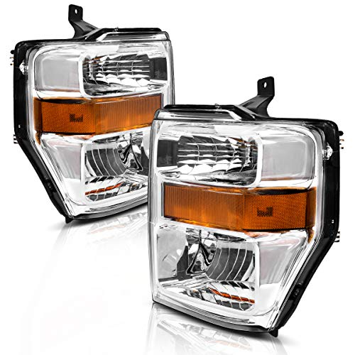 (For 2008 2009 2010 Ford F250 F350 F450 Super duty Headlight Assembly,OE Projector Headlamp,Chrome Housing,One-Year Limited Warranty(Pair,7C3Z-13008BA,7C3Z-13008AA))