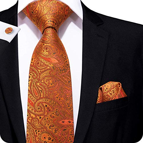 Hi-Tie Men Orange Paisley Floral Tie Cufflinks and Pocket Square Tie Set -