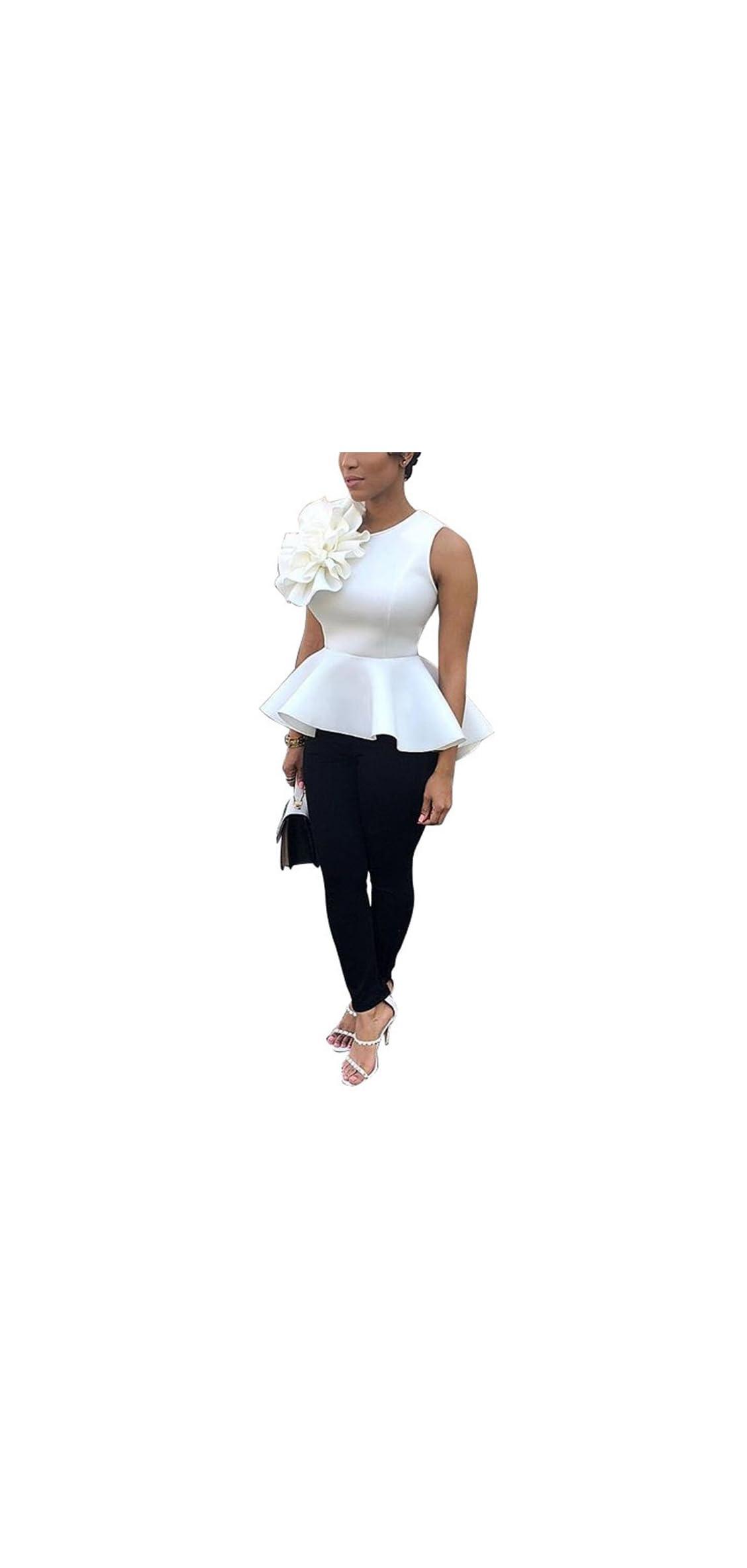 Women's Elegant Round Neck Flounce Ruffle Peplum Tops